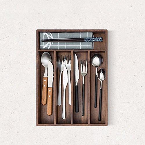 SSBY Black walnut kitchen utensils drawers cutlery box solid wood separate finish storage box for kitchen