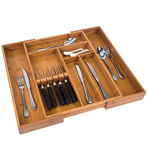 Utoplike New Upgrade Expandable Bamboo Kitchen Cutlery Drawer Organizer Build in Knife Holder Totally Bamboo Utensil Tray Silverware Holder
