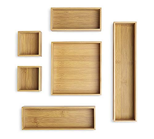 Whitmor Bamboo Drawer Organizers Set of 6 Natural