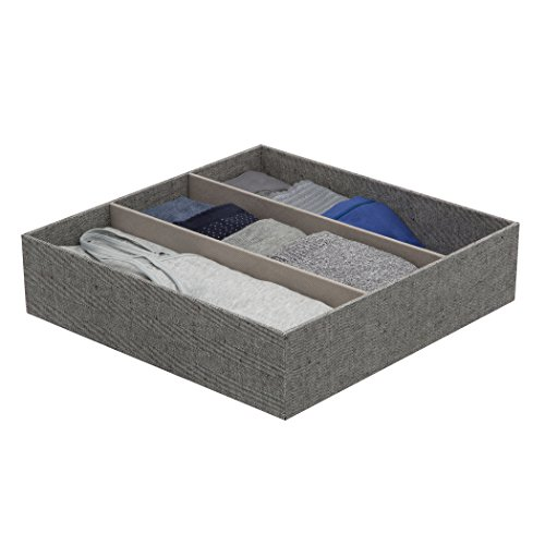 Arrow Weave Canvas 3 Compartment Drawer Organizer 12 Inch By 12 Inch - In Gray