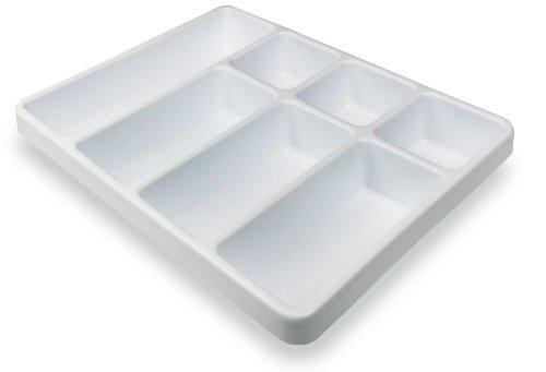 TrippNT 50056 White Polystyrene Plastic Big Drawer Organizer 7 Compartments 1675 Width x 238 Height x 129 Depth