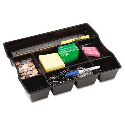 Nine-Compartment Deep Drawer Organizer Plastic 14 78 x 11 78 x 2 12 Black