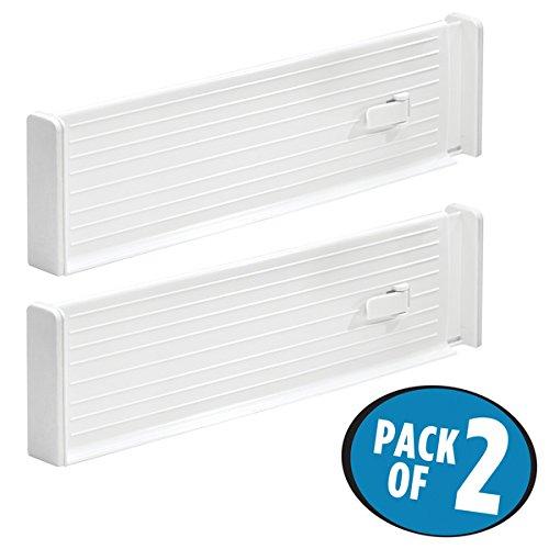 mDesign Adjustable Deep Drawer Organizer Dividers for Kitchen or Dresser - Pack of 2 White