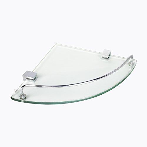 Bathroom Tempered Glass Corner Shelf Vdomus Stainless Steel Shower Shelf with Rail Updated
