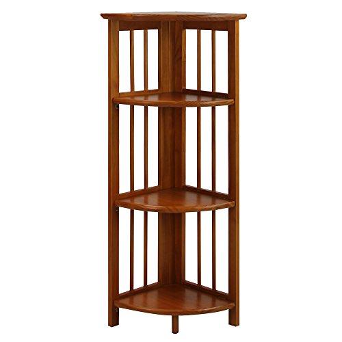Casual Home 4 Shelf Corner Bookcase Honey Oak