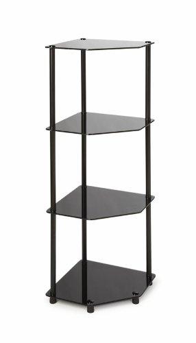 Convenience Concepts Designs2Go Midnight Classic 4-Tier Glass Corner Shelf Black Glass