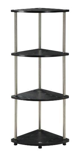 Convenience Concepts Designs2Go X-Tra Storage 4-Tier Corner Shelf Black