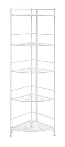 Convenience Concepts Designs2Go X-Tra Storage 5-Tier Folding Metal Corner Shelf White