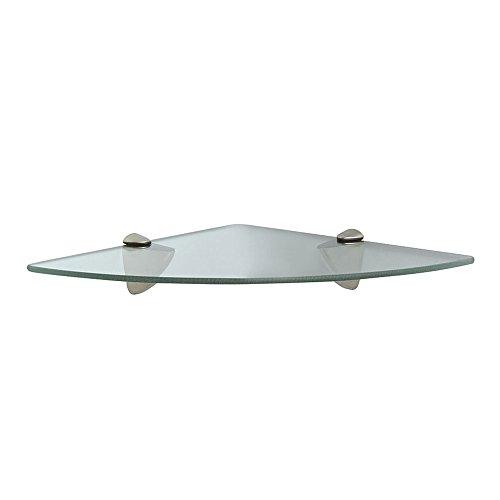 John Sterling Shelf-Made KT-0134-1212SN Glass Corner Shelf Kit Satin Nickel 12-Inch by 12-Inch
