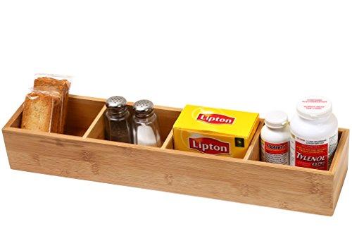 YBM Home Kitchen 4-compartment Bamboo Drawer Organizer Box Size 175lx4wx25h 329