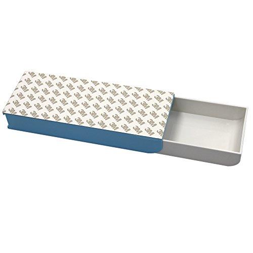 Erlvery DaMain 3M Self Adhesive Pencil Tray Drawer Pop-up Pencil Case Pencil Box Pen Storage Drawer Organizer Blue
