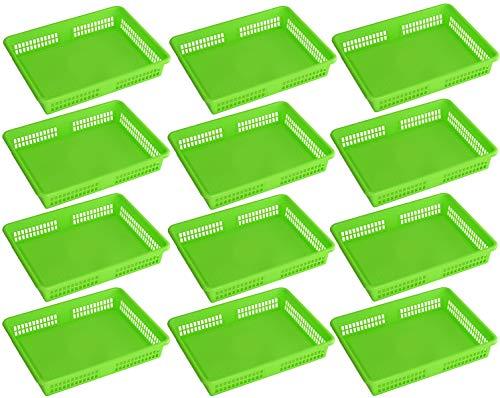 Ybm Home Plastic Storage Baskets  Drawer Organizer 8600-large 12 Green