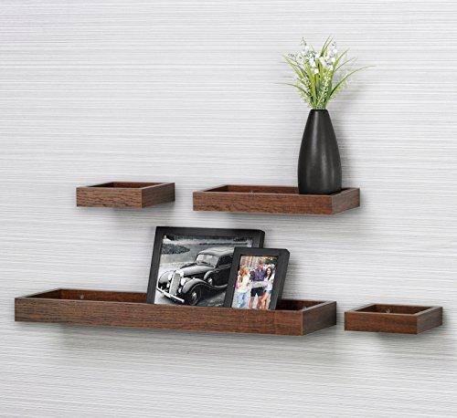 O&K Furniture Multi Length Set of 4 Floating Shelf Espresso- Teak