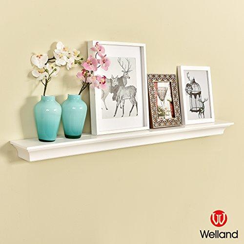 WELLAND Classic Wall Floating Shelf Crown Molding Mantle Display Ledge Shelves 48-Inch White