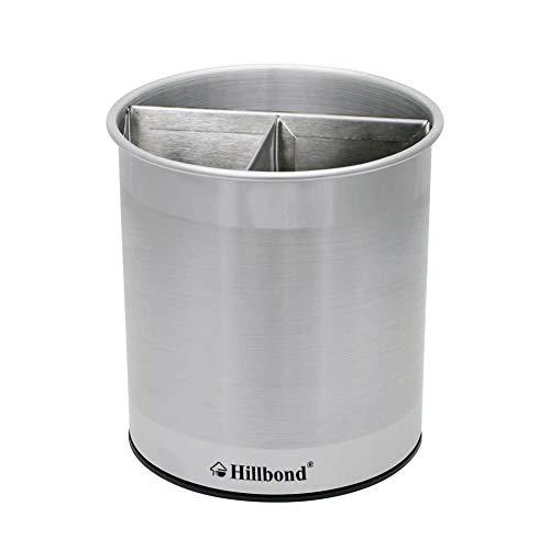 Hillbond Rotating Utensil Holder Utensil Crock Stainless Steel Kitchen Utensil Organizer with Removable Insert for Cooking