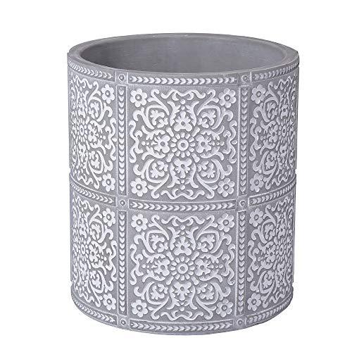 Kitchen Cooking Utensil Holders  Fine Embossed Cement Utensils Crock  Cement Utensil Container Kitchenware Flatware Organizer - Farmhouse Decor Utensils Caddy (Square Pattern)