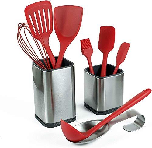 Kitchen Utensil Holders - with Spoon Rest - Utensil Organizer - Stainless Steel