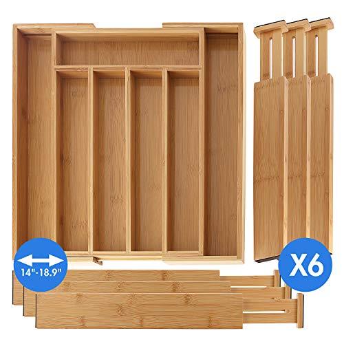 SleekDine Silverware Drawer Organizer - Kitchen Bamboo Drawer Organizer - Utensil And Cutlery Drawer Organizer - With 6 Bamboo Kitchen Drawer Dividers