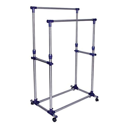 SONGMICS Double Rod Garment Clothing Rack Rolling Clothes Racks Hanging Rail on Wheels Blue ULLR03B
