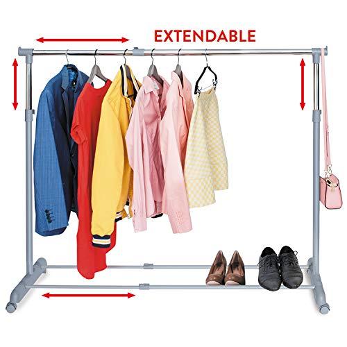 Tatkraft Party Telescopic Clothes Rail Extendable Rack Chrome Plated Steel 37-59 17 38-64