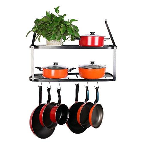 VDOMUS Shelf Pot Rack Wall Mounted Pan Hanging Racks 2 Tire Black 106 H x 295 W x 137 D … Black