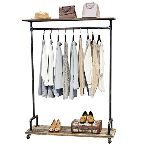 MBQQ Industrial Pipe Clothing Rack on WheelsRolling Iron Garment Racks with Shelves Commercial Grade Clothing Racks Heavy DutyVintage Steampunk Clothes Rack Retail Display Wood Shelf