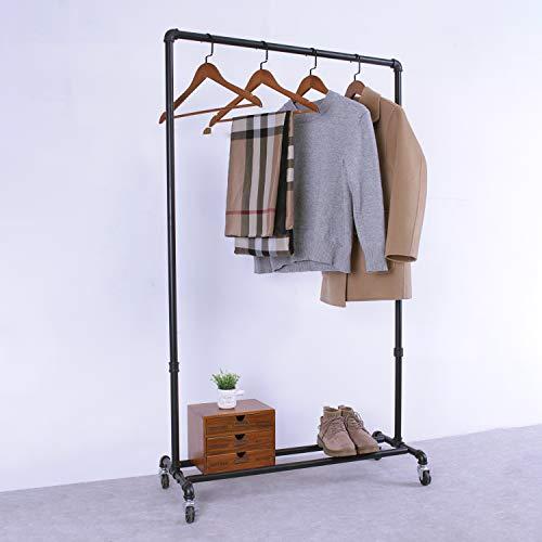 MBQQ Industrial Pipe Clothing Racks on Wheels35in Length Heavy Duty Garment Racks Commercial GradeVintage Rolling Ballet Rack Clothes Display Rack Retail DisplayBlack