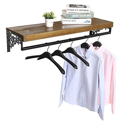 Wall Mounted Wood Metal Floating Shelf wGarment Hanger Rod Decorative Retail Clothing Rack Brown
