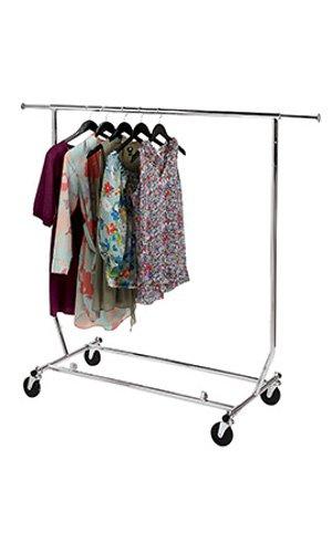 Collapsible Single Rail Rolling Salesman Commercial Garment Rack
