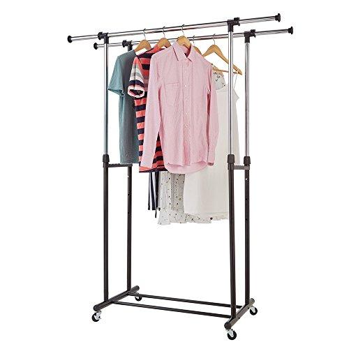 RichStar 2 Rods Adjustable Clothes Garment Rack-with Commercial Grade CastersBlack&Chrome