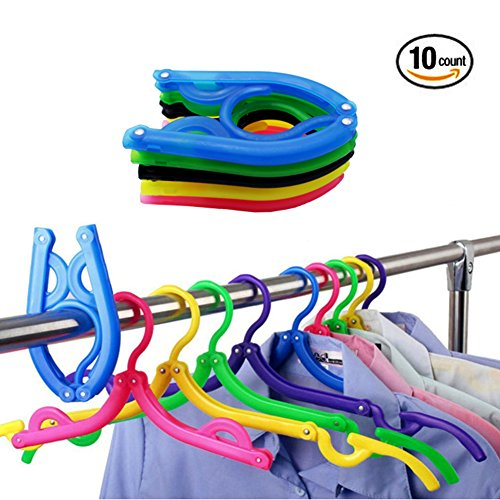 Future 10 PCS Clothes Hangers Folding Portable Plastic Travel Clothes Hanger with Anti-slip Grooves Drying Rack for Travel