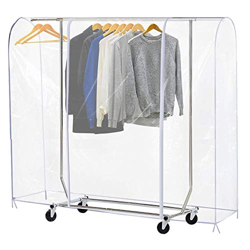 Ruibo Clear Garment Rack Cover Dustproof Clothes Rack Cover with 2 Durable ZipperClothing Waterproof Protector L71x20x60 inch