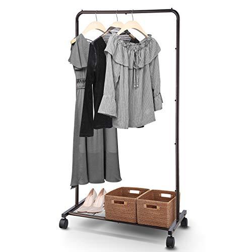 Simple Trending Standard Clothes Garment Rack Clothing Rolling Rack with Mesh Storage Shelf on Wheels Bronze