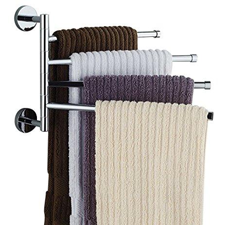 Bekith 16 inch Wall-Mounted Stainless Steel Swivel Bars Bathroom Towel Rack Hanger Holder Organizer 4-Arm