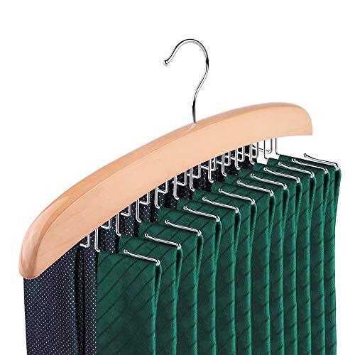 SUNTRADE Wooden Tie Hanger24 Tie Organizer Rack Hanger Holder Hook Beige 24 Hooks