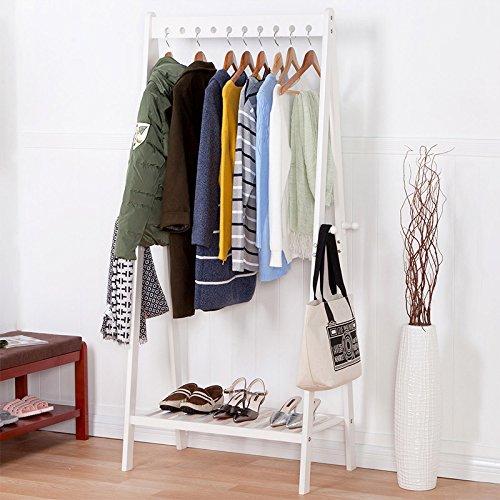 Wood coat rack creative living room bedroom floor rack the removable hangers clothes rackWhite