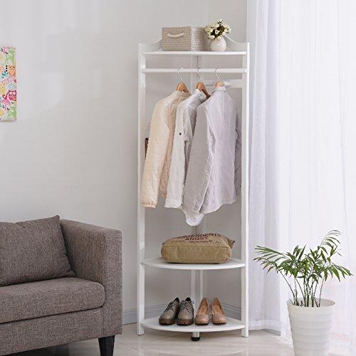 Wood coat rack hanger landing-bedroom corner coat rack wood floor to ceiling hanger clothes rackWhite