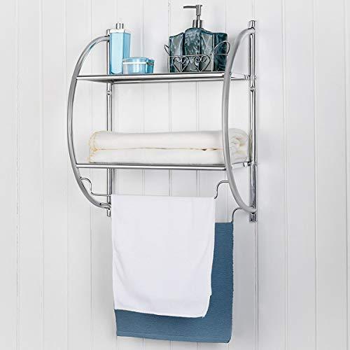 Zazza95shop Bathroom Toilet Laundry Kitchen 2 Tier Wall Mount Classic Stylish Decor Shower Towel Clothes Rack Shelf Storage Organizer Space Saver Sturdy Chrome Plated Iron Rust Proof Multi-Function