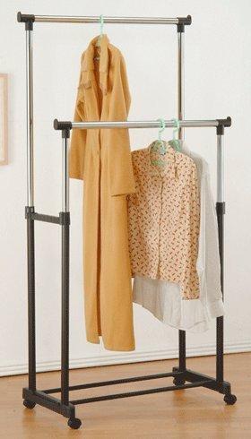2 Steels Garment Rack with Wheels