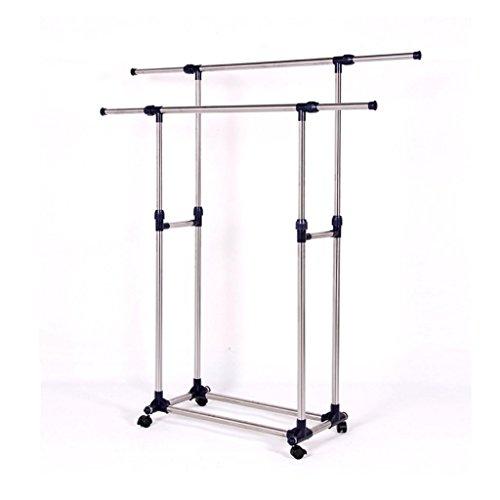 Garment Rack WYTong W Brake Wheels Heavy Duty Double Rail Adjustable Telescopic Rolling Clothes Garment Rack