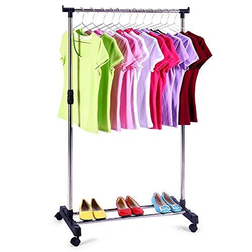 KARMAS PRODUCT Portable Single Rod Clothes Rack Easy Assemble Adjustable Garment Rack with Wheels Storage Shelves