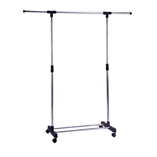 Livebest Single Rod Adjustable Extendable Clothes Garment Rack -with Wheels Storage Shelves