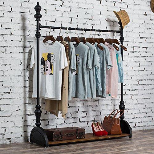 WGX Industrial Pipe Clothing Rack Garment Rack Pipeline Vintage Rolling Rack with wheels
