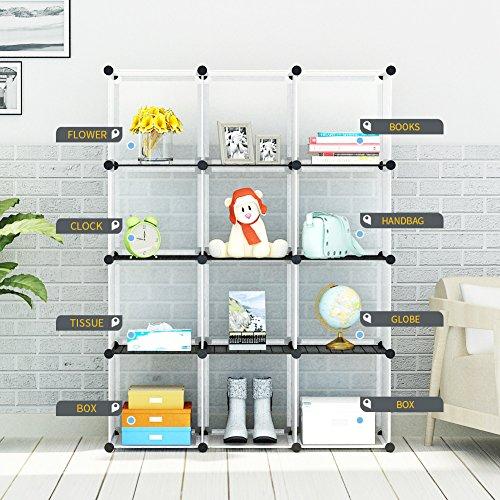 KOUSI 12-Cube Modular DIY Storage Cube Organizer 4 tier Shelving Bookcase Cabinet Closet White
