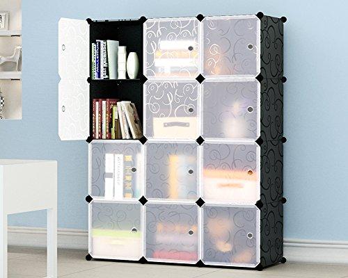 KOUSI Multi Use DIY Plastic 12 Cube Organizer Bookcase Storage Cabinet Wardrobe Closet Black with White Door