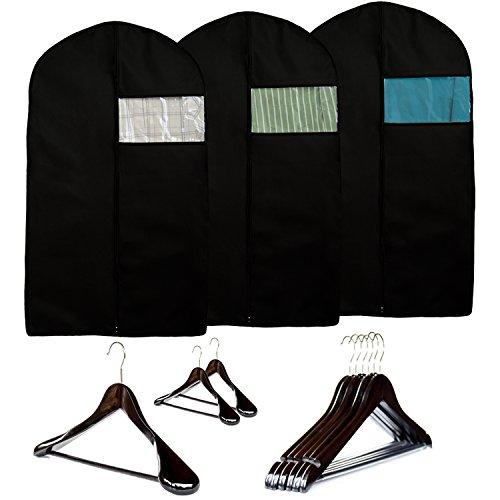 Garment Storage Set - 3 Wood Suit Hangers - 6 Wood Clothes Hangers - 3 Garment Suit Bags by Clutter Mate