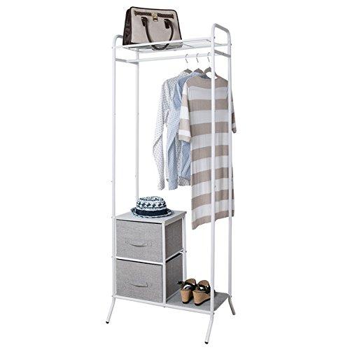 mDesign Fabric 2-Drawer Garment Storage Organizer Rack for Bedroom Nursery Closet - Gray