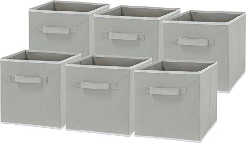 6 Pack - SimpleHouseware Foldable Cube Storage Bin Grey