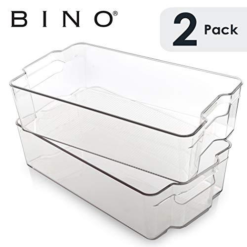 BINO Stackable Plastic Organizer Storage Bins X-Large - 2 Pack - Pantry Organization and Storage Refrigerator Organizer Bins Fridge Organizer Freezer Organizer Pantry Organizer Pantry Storage