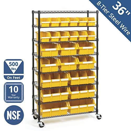Seville Classics Commercial 8-Tier BlackYellow NSF 24-Bin Rack Storage System